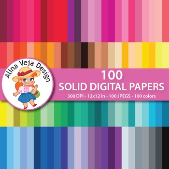 100 Solid Digital Papers Background Papers