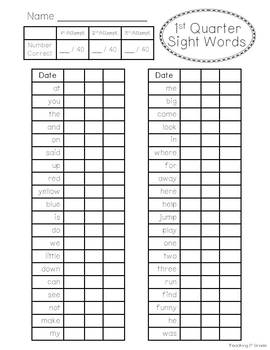 1st Grade Sight Word Unit- Entire Year- K-1 Dolch Words