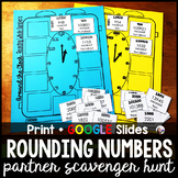 4th Grade Rounding Whole Numbers Partner Scavenger Hunt