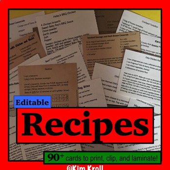 Recipes  Editable & Printable OVER 140 RECIPE Cards