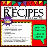 Recipes  Editable & Printable OVER 140 RECIPE Cards