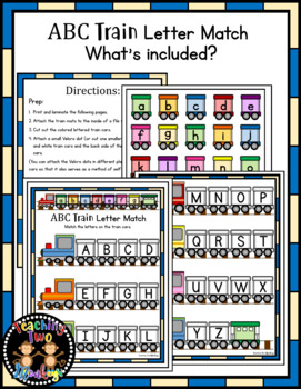 ABC Train Letter Match File Folder Literacy Center Activity
