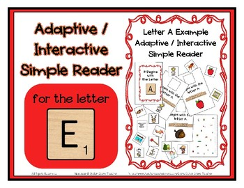 Adapted Interactive Beginning Reader for the letter E - 25 Picture Words