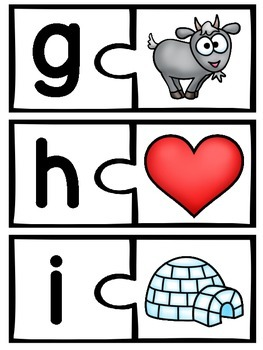 Alphabet Center Cards Beginning Sounds Puzzles