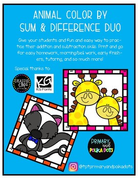 FLASH FREEBIE! Animal Color by Sum & Difference Worksheet Duo