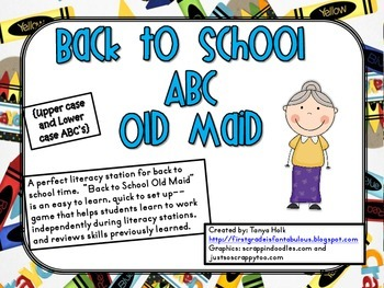 Back to School Old Maid Alphabet Letter Recognition Game