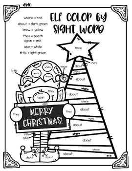 FLASH FREEBIE!! Christmas Elf Color by Sight Word Worksheet