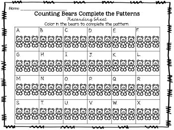 Counting Bears Patterns Task Cards