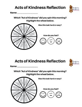 Acts of Kindness Wheel for Classroom Morning Routine