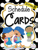Editable Schedule Cards {BLACK & WHITE Polka Dot Theme}