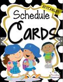 Editable Schedule Cards {BLACK & WHITE Polka Dot Theme}