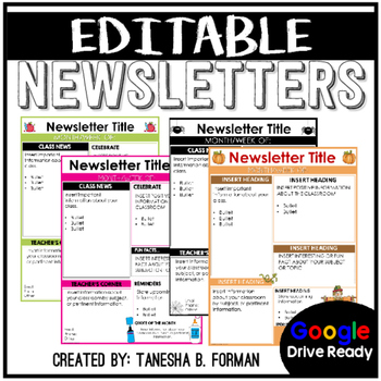 Editable Yearly Newsletters
