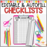 Editable and Autofill Student Checklists