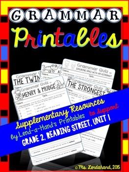 Grammar Supplementary Printables, Grade 2, Reading Street, Unit 1