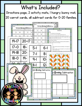 Hungry Bunny Subtraction Math Center Activity (0-20 Facts)