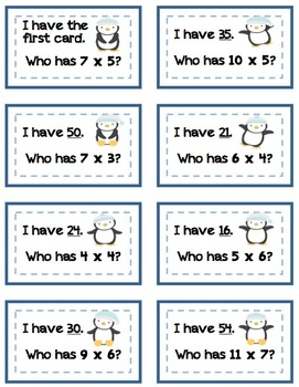 """""""I Have, Who Has?"""" Penguin Multiplication (Facts to 12x12)"""