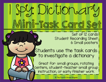 I Spy: Dictionary Mini-Investigation task Cards - REFERENCE MATERIALS