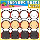 Ladybug Heads Faces Clipart Set