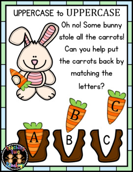 Missing Carrots UPPERCASE Letter Match Interactive File Folder
