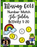 Missing Gold Number Match File Folder March Math Center Activity