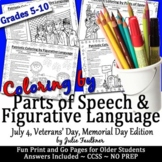 Patriotic Coloring by POS & Fig. Language for July 4, Vete