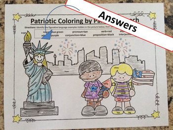 Patriotic Grammar July 4, Veterans, Memorial Day, NO PREP Coloring for Teens