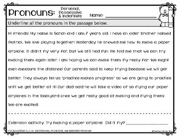 Common Core: Personal, Possessive & Indefinite Pronouns  {L.1.1D}