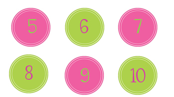 Pink and Green Number Labels