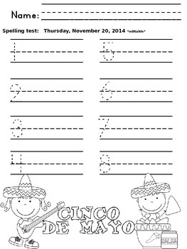Primary Printable Spelling Test Papers (editable)