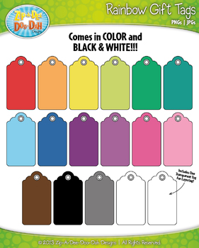 FREE Rainbow Gift Tags Set 1 Clip Art — Includes 17 Graphics!
