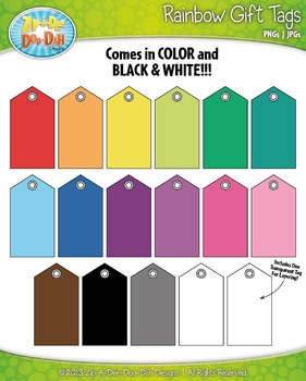 {FREE} Rainbow Gift Tags Set 2 Clip Art — Includes 17 Graphics!