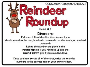 Reindeer Games MATH Common Core 4th Grade FIVE GAMES!