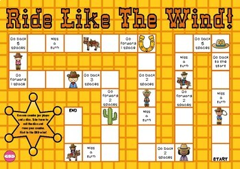 Ride Like The Wind Western Theme Game Board