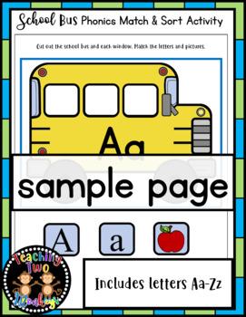 School Bus Phonics Match & Sort Literacy Center Activity