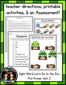 Sight Word Let's Go to the Zoo Pre-Primer Unit 2 (fluency, books, review)