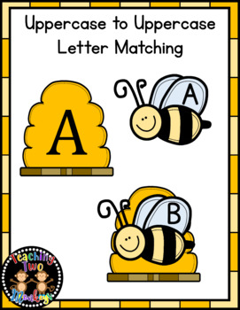 Spring Bumble Bee UPPERCASE Letter Match File Folder Activity