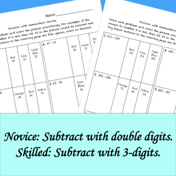 Subtraction with Regrouping Differentiated Color by Answer