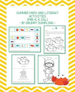 Summer Math and Literacy Activities {PRE-K, K, ESL}