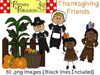 Thanksgiving Friends {Primary Polka Dots Clip Art}