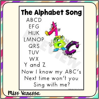 The Alphabet Song Printable Lyrics By Miss Vanessa Tpt