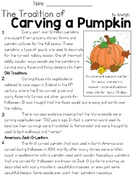 The Traition of Carving a Pumpkin Text and Question Set - FSA-Style Assessment