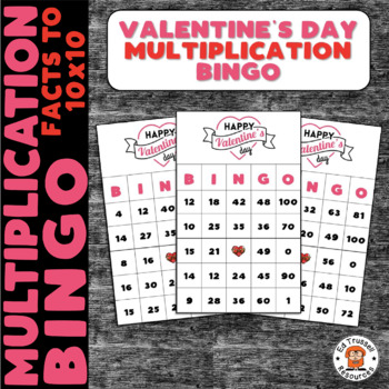 Valentine's Day Multiplication Bingo Math Facts Within 100
