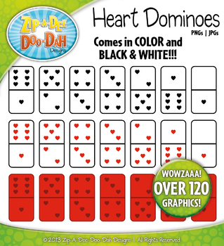 Valentine's Day Heart Dominoes Clip Art Set — Over 120 Graphics!