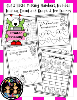 Valentines Day Math Numbers 1-50 (Print and Go!)