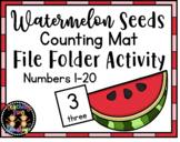 May/Summer Watermelon Seeds Counting Mats File Folder Activity (1-20)