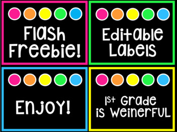 FLASH FREEBIE editable labels ~ Brights