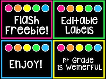 FLASH FREEBIE editable labels ~ Brights