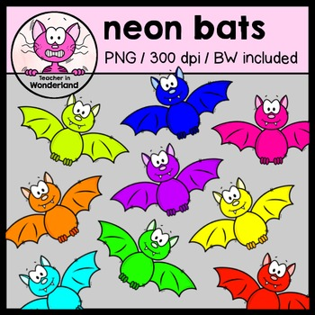 NEON BATS clipart for halloween