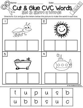 Cut & Glue CVC Words - Short Vowel Sets