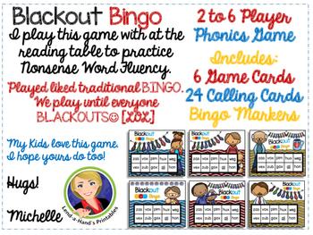 Nonsense Word Fluency BLACKout Bingo Game (FATHER'S DAY Theme)